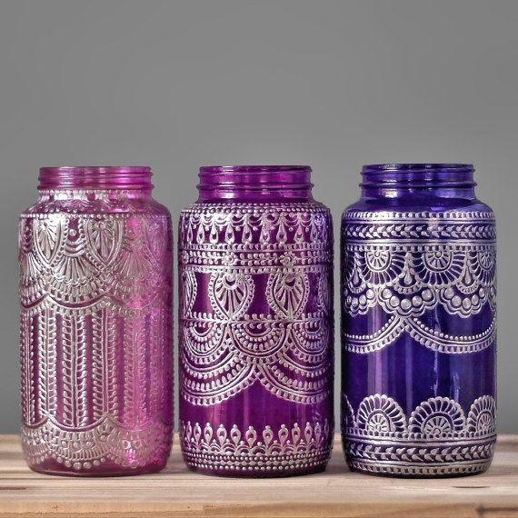 Benutzerdefinierte gemalten Einmachglas Vase, marokkanisch inspirierte Dekoration mit Silber Metall Akzente, Henna Design und Glasfarbe Ihrer Wahl