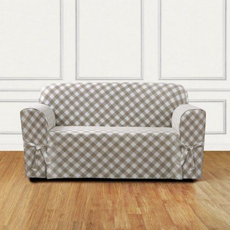 Sure Fit Buffalo Check 1-Piece Loveseat Slipcover, Beige