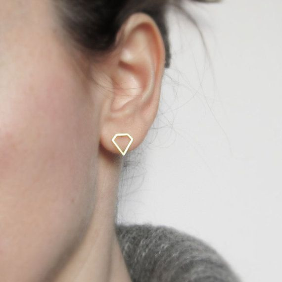 Tiny diamond gold filled earrings by sewasong on Etsy