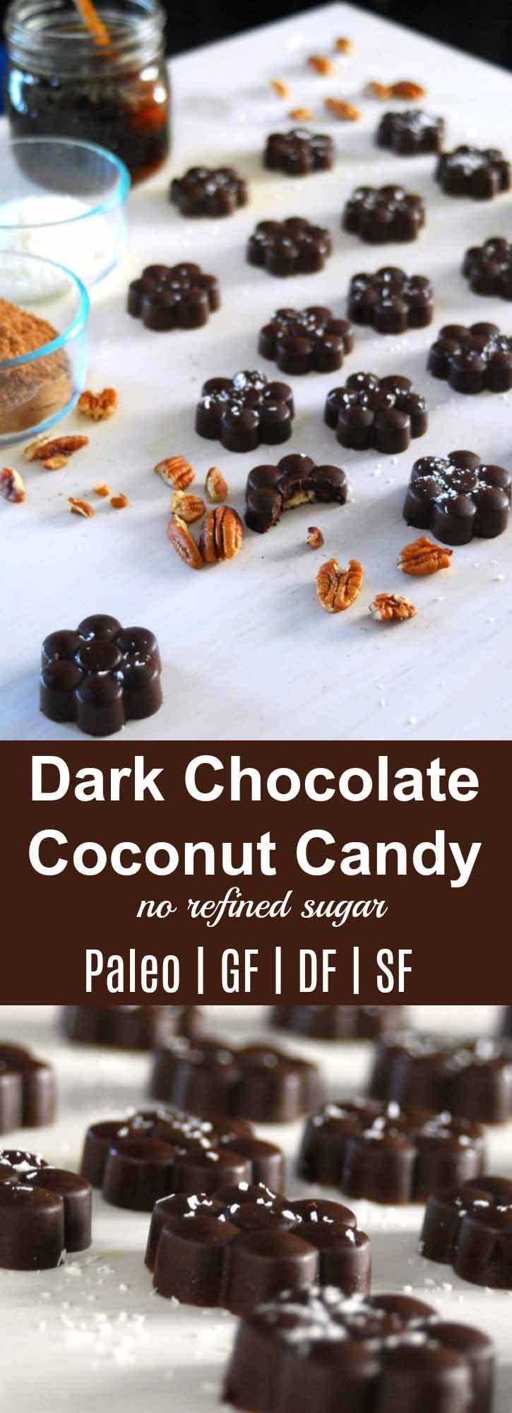"""The perfect guilt-free dark chocolate treat for Christmas! Dark Chocolate Coconut Candy {Paleo} 