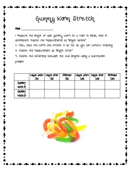 This is a fun activity to practice measurement using a ruler. Students measure the gummy worm in inches and centimeters before and after they stret...