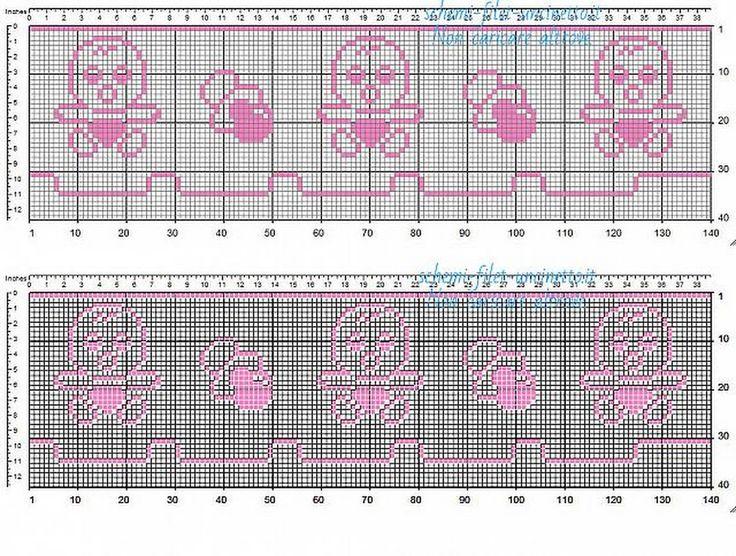 Bordo bebè filet uncinetto color rosa con bebè e ciuccio schema da scaricare gratis 35 quadretti - Schemi filet uncinetto da scaricare gratis