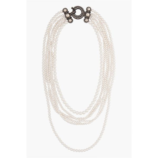 Lanvin Multi-strand Pearl Necklace (£895) ❤ liked on Polyvore featuring jewelry, necklaces, accessories, collares, women, white pearl necklace, beaded jewelry, pearl bead necklace, multi-strand necklace and multiple strand necklace