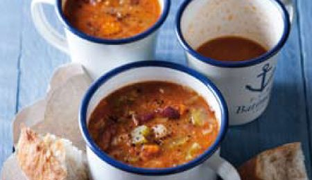 Four-bean and tomato soup