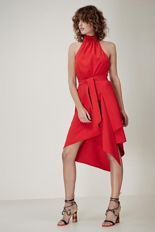 OUT OF LINE DRESS cherry