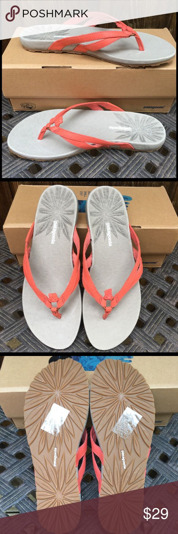 New Item- NIB Patagonia Women's Poli Sandals NIB Patagonia Poli Thong in Coral. Leather,  Rubber sole, Thong slide sandal featuring leather straps that knot around metal ring at toe post.  Size: 7 Patagonia Shoes Sandals