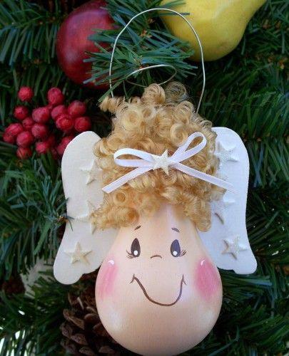 enfeite de natal lampada reciclada anjinho