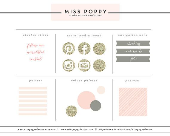 Boutique Blog & Web Branding Kit / Graphic Design / Elements / Buttons / Patterns / Marketing / Pre Made / Glitter / Pretty / Modern