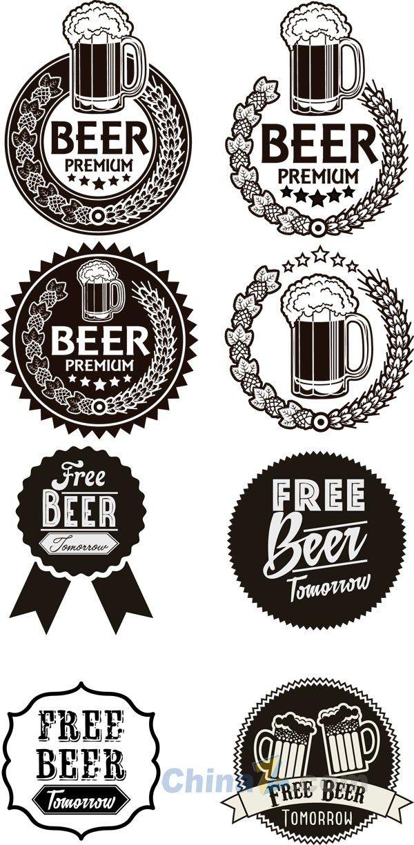 Monochrome vector beer label design