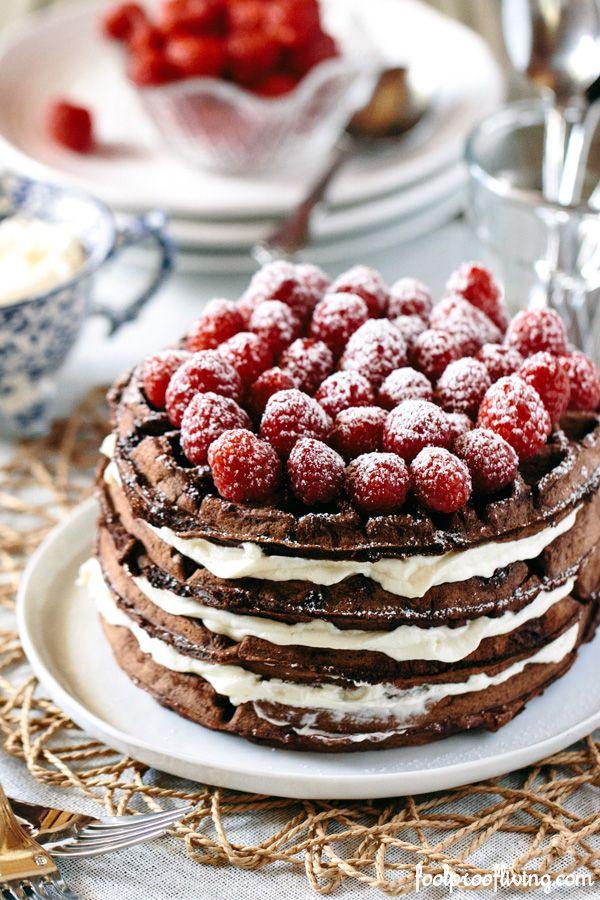 Dark Chocolate Waffle Cake with Mascarpone Whipped Cream