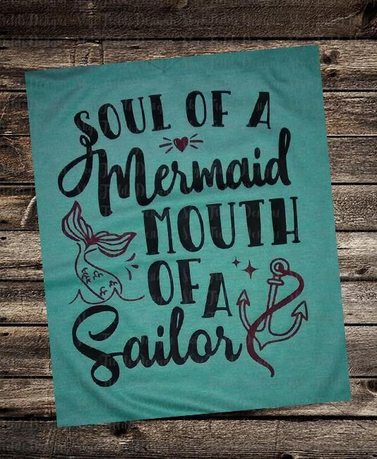 Thank you for choosing Skye Fields Designs! This listing is for the following: Design: Soul of a Mermaid, Mouth of a Sailor SVG, JPG, PNG, Studio.3. {IMPORTANT} You will receive one (1) Zipped File including all 4 Files. If you need the files separately, just leave a note to seller and I
