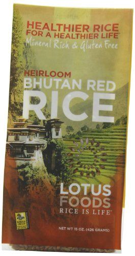 Lotus Foods Bhutanese Red Rice, 15-Ounce (Pack of 6) Ships in Certified Frustration-Free Packaging. Pack of six 15-ounce packages of Bhutanese Red Rice from Lotus Foods. Himalayan heirloom rice, irrigated with mineral-rich glacier water offers a russet color and complex nutty flavor. Exported from Bhutan--the only nation to measure its well-being using a Gross National Happiness index. Price premi... #LotusFoods #Grocery