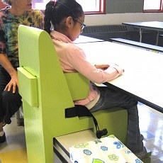 SLIP-ON PORTABLE CAFETERIA BENCH ADAPTATION    Therapeutic Benefits: Promotes social interaction, independent sitting, and self-feeding. Can be used at any table in the cafeteria which ensures choice-making and builds self-esteem. Repin from Adaptive Design.