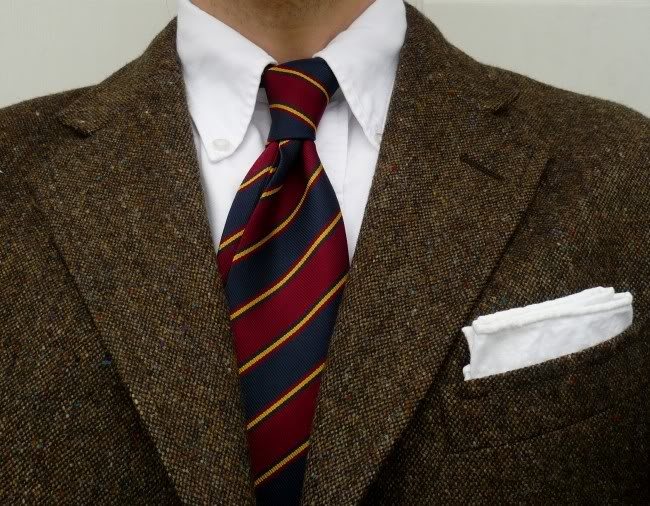 Tweed, Tie, and a white oxford button down OCBD