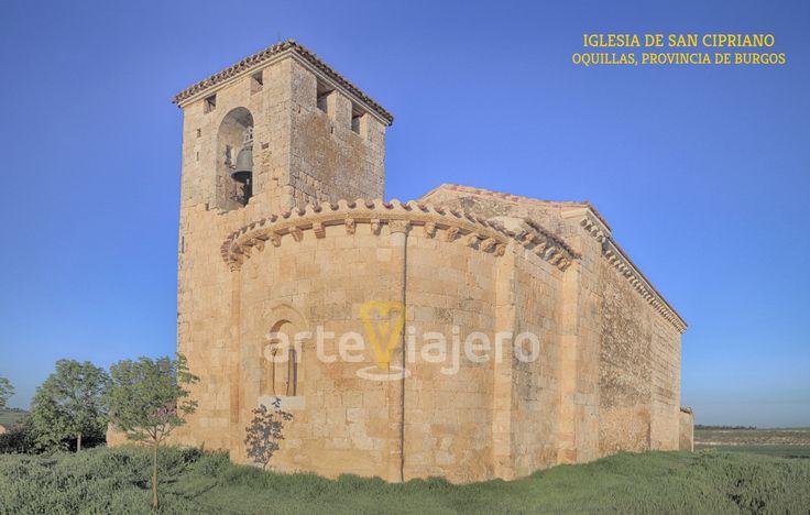 Oquillas, Burgos. Iglesia de San Cipriano, estilo románico. Vista del ábside