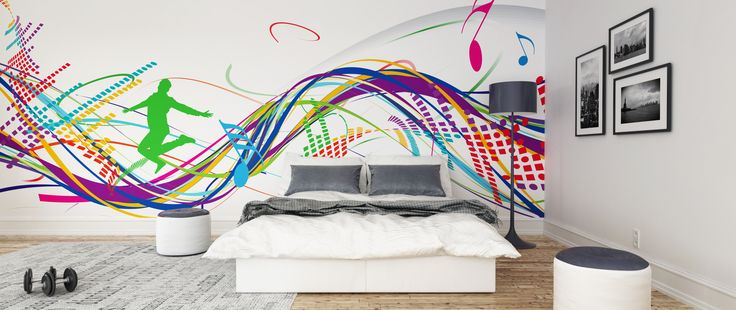 music wall mural wallpaper funky bedroom ohpopsi funky graffiti doodle monsters wall mural