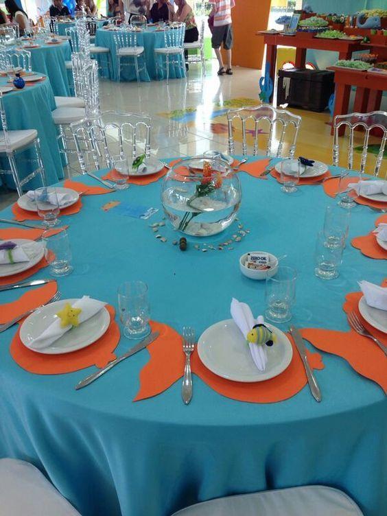 Festa fundo do mar, centro de mesa, sousplat, jogo americano, porta guardanapo em feltro