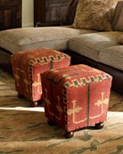 Make  Ottoman out of my old worn kelim woven blanket