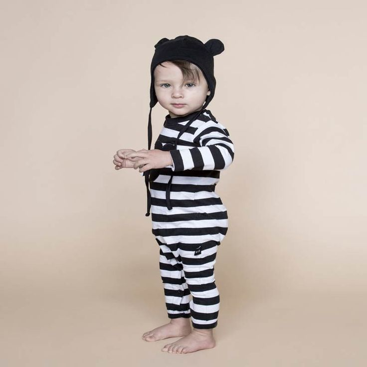 Huxbaby Shadow Bear Applique Long Romper in Stripe