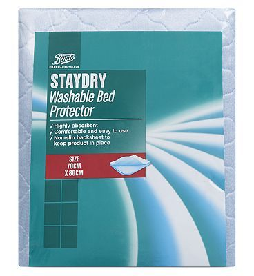 #Boots Pharmaceuticals Staydry Washable Bed #96 Advantage card points. Boots Pharmaceuticals Washable Bed Protector is specially designed for all levels of bladder weakness.See details below, always read the label FREE Delivery on orders over 45 GBP. (Barcode EAN=5045092257913)