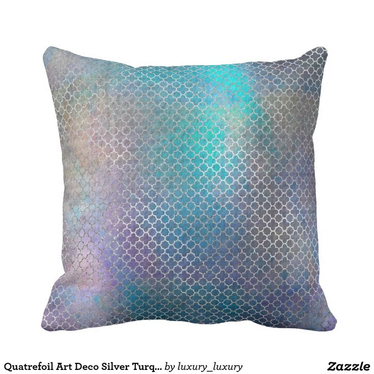Quatrefoil Art Deco Silver Turquoise Teal Metallic Throw Pillow