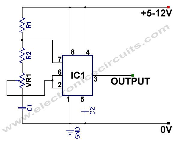 555 Variable Frequency Square Wave Generator Oscillator