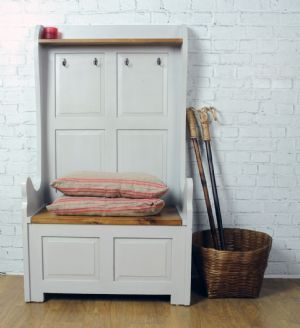 painted pine shabby chic french high two seater monks bench with hooks mobilirio