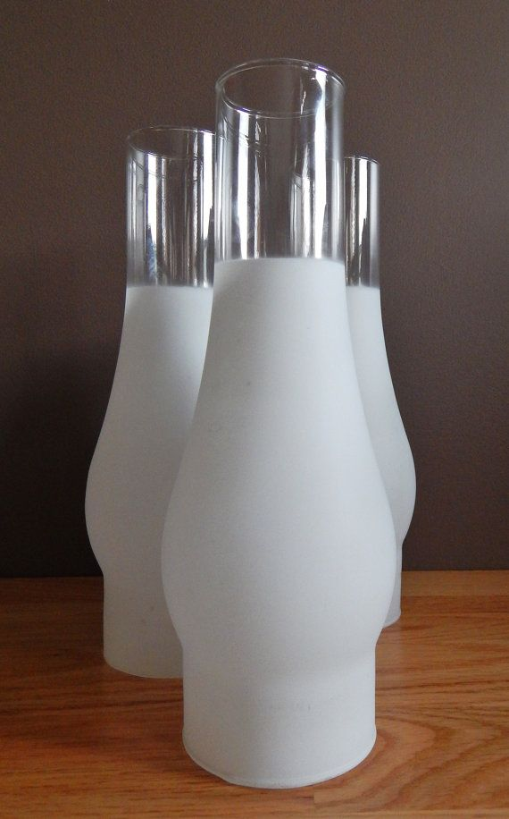Hurricane Lamp Style Frosted Glass Replacement Shades Set Of Two
