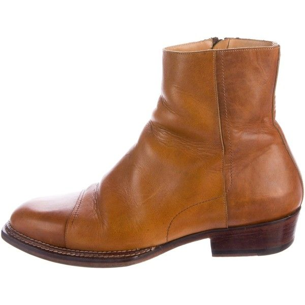 Pre-owned Maison Margiela Replica Leather Boots ($245) ❤ liked on Polyvore featuring men's fashion, men's shoes, men's boots, brown, mens zipper boots, mens stacked heel boots, mens leather boots, mens brown shoes and mens brown boots