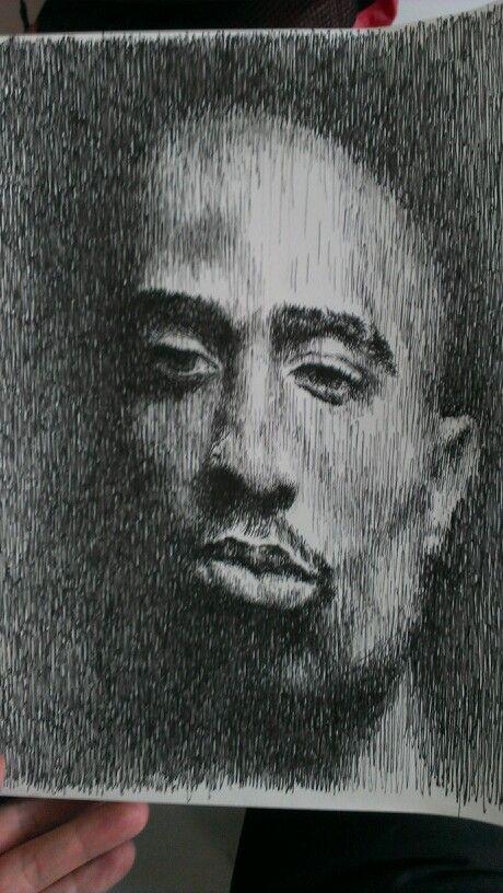 # #portrait #sketch #picture #pen drawing # 2pac #
