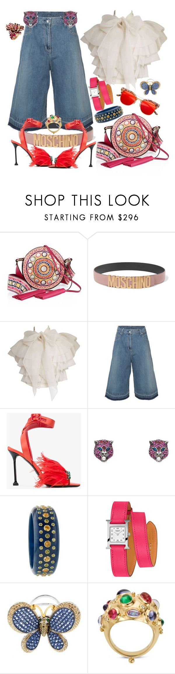 """Circles.Colors.Choas.Charged"" by jeniferkcarsrud ❤ liked on Polyvore featuring Moschino, Sacai, Miu Miu, Gucci, Mark Davis, Hermès, Zorab, Passionata and Temple St. Clair"