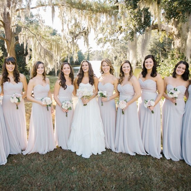 Blush Wedding Dress Grey Bridesmaids : Light gray bridesmaid dresses with small bouquets