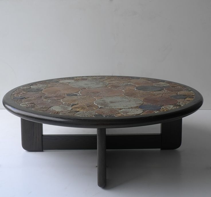 Tue Poulsen; Glazed Ceramic Tile and Wood Coffee Table for Haslev Møbelsnedkeri, 1963.