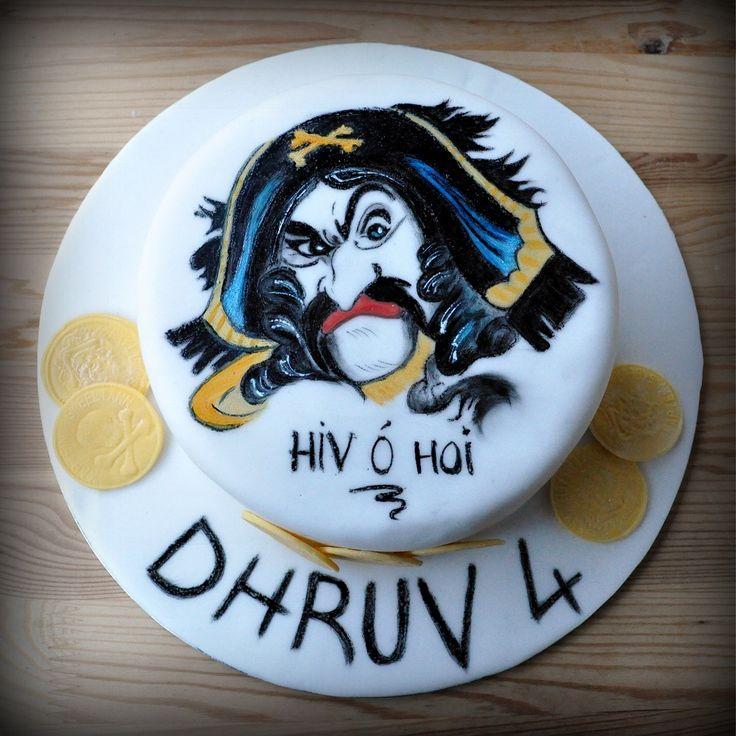 My first hand painted cake. Captain Sabertooth (in Norwegian Kaptein Sabeltann)