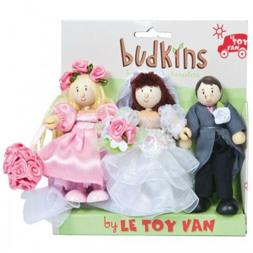 A set of 3 very special poseable Budkin characters: a bride, a groom and a bridesmaid.