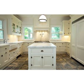 kitchens - creamy white kitchen cabinets kitchen island calcutta marble countertops farmhouse sink pot filler champagne glass tiles backsplash slate tiles floor