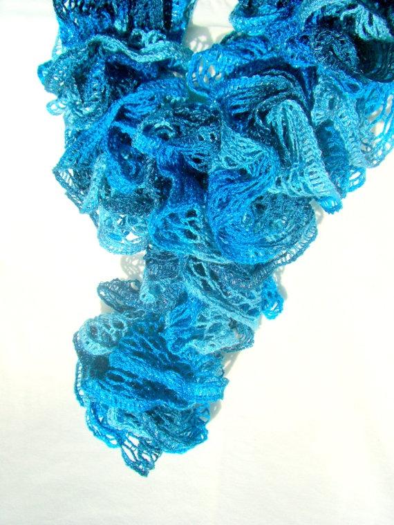 Teal Ruffle Scarf Hand Knit Ladies Winter by KrystalzKreations, $25.00