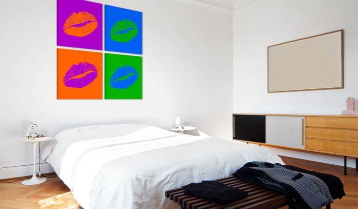 Obraz na plátně - Kisses: Pop art #canvas #prints #obraz #decor #inspirace #home #barvy #pictureframes #kiss #color