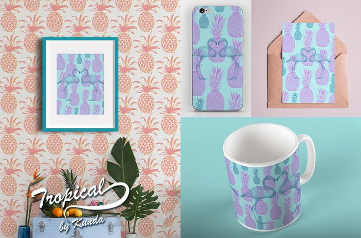 Tropical by Kunda. #tropical #artprints #flamingo #mugs #iphone #iphonecase #stationary #mint
