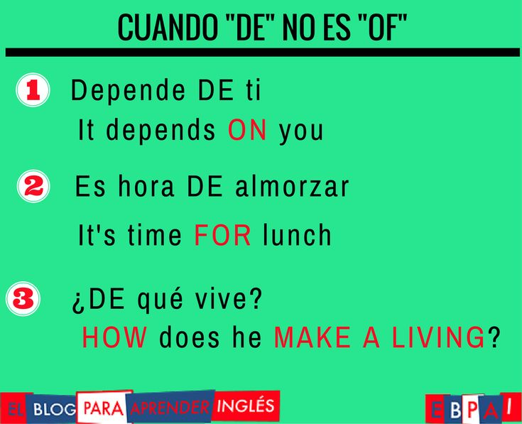 Spanish vocabulary - De