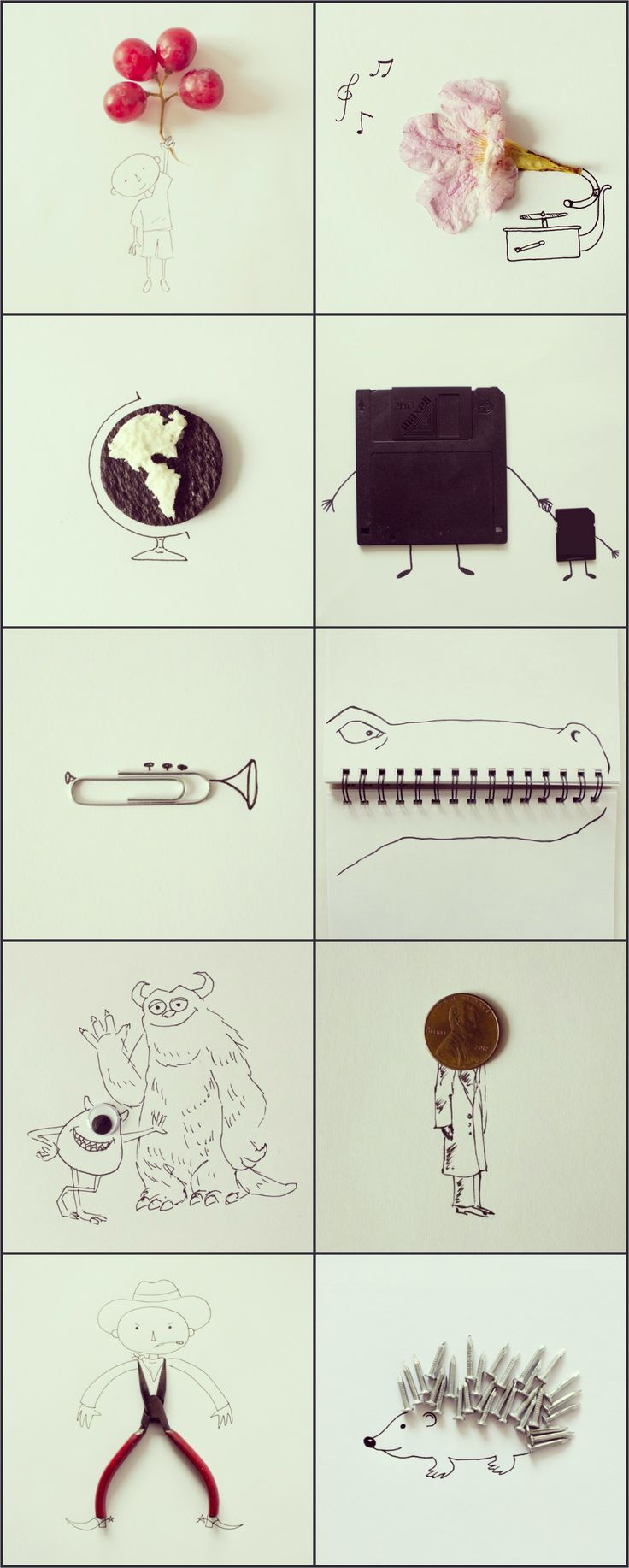 Everyday Objects Blended With Simple Sketches by Javier Perez