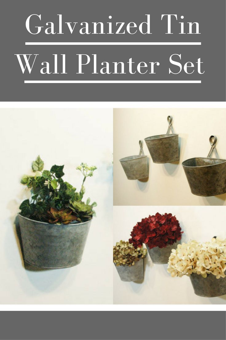 This set of galvanized tin wall planters would look great in my living room! #affiliate #homedecor #farmhousedecor #rusticdecor #galvanizedtin