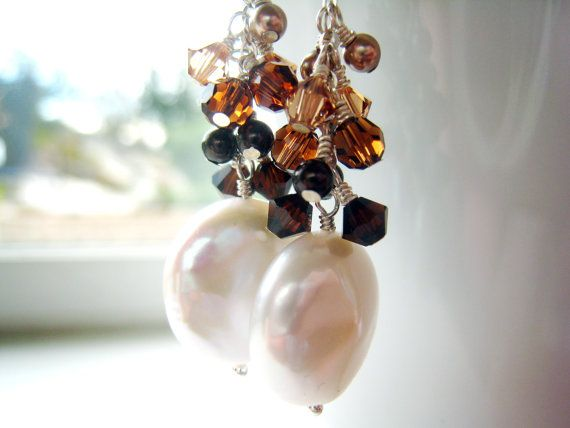 Coin Pearl Earrings Cafe Au Lait Crystals by SiennaGraceJewelry, $46.00