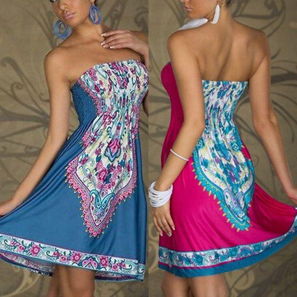 Sexy Summer Women Floral Bandeau Beach Boho Maxi Sundress Mini Dress Casual
