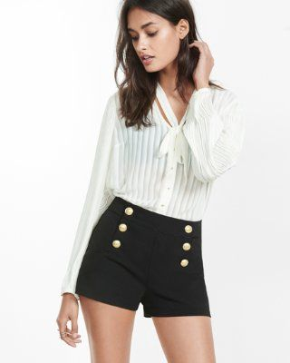 black mid rise sailor shorts