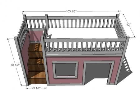 Plans for Loft bed with play area underneath and storage stairs.