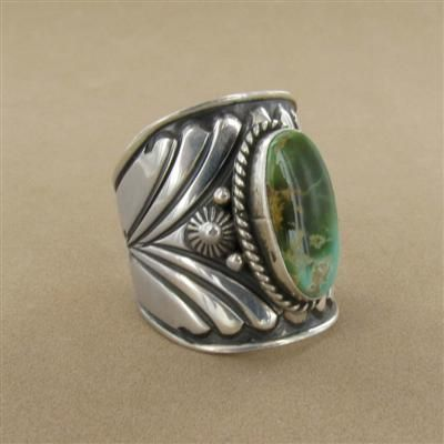 Turquoise Oval Old Style Wide Navajo Ring