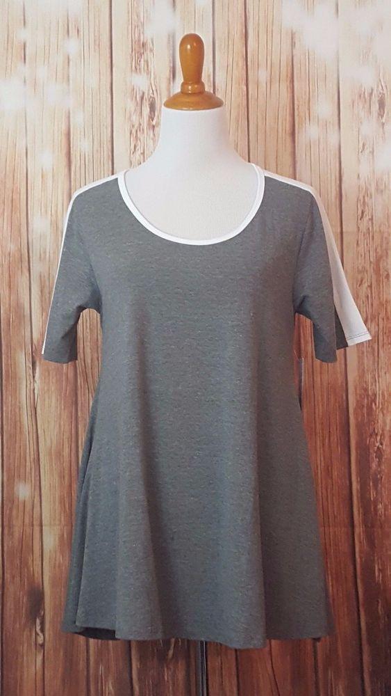 LuLaRoe Perfect T S Gray White Small Shirt NWT #LuLaRoe #KnitTop
