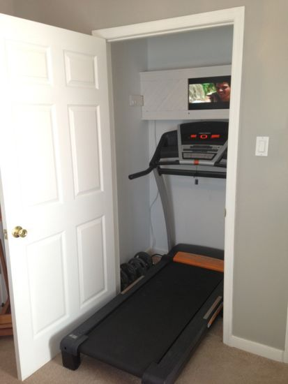 I don't like running on a treadmill, but if I did, this would be pretty sweet. Closet turned into a Treadmill/Work-Out Closet. www.tommyandellie.com