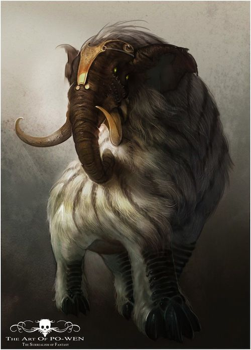 baku  Origins: Chinese and Japanese Folklore Morphology: A furry creature with elephantine tusks and trunk. The fur is often striped like a tiger or zebra. Many believe early sightings of tapirs inspired this creature. Why it's awesome: It's like a streamlined mammoth, but smaller, cuter and faster.